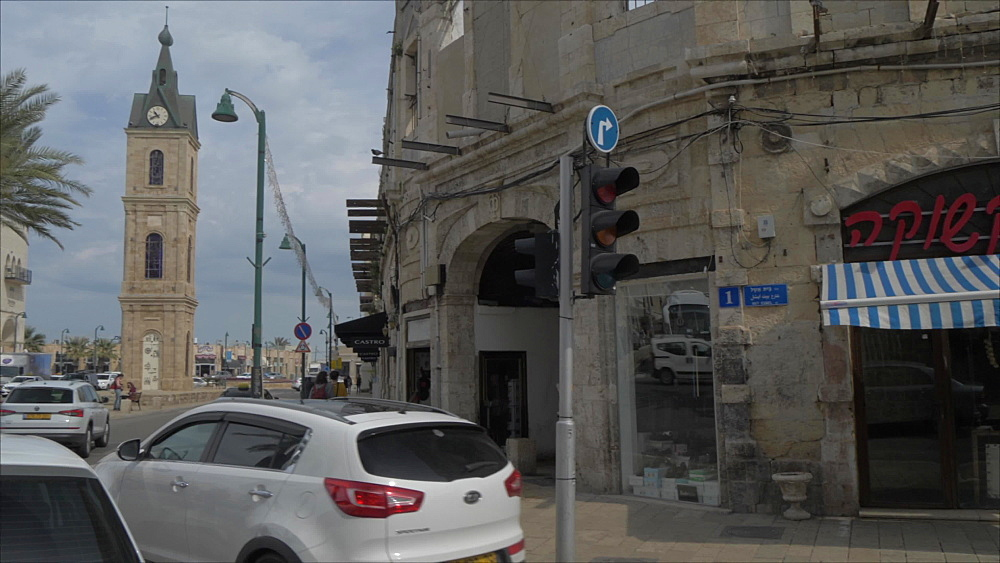 Traffic and The Clock Tower in Jaffa Old Town, Tel Aviv, Israel, Middle East