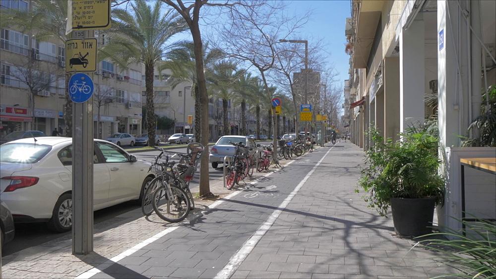 Cyclist on Shlomo Ibn Gabirol Street during spring, Tel Aviv, Israel, Middle East