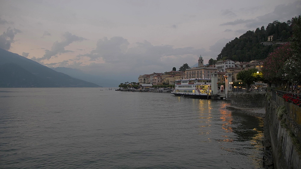 Lake Como from lakeside town of Bellagio at dusk, Bellagio, Lake Como, Lombardy, Italian Lakes, Italy, Europe