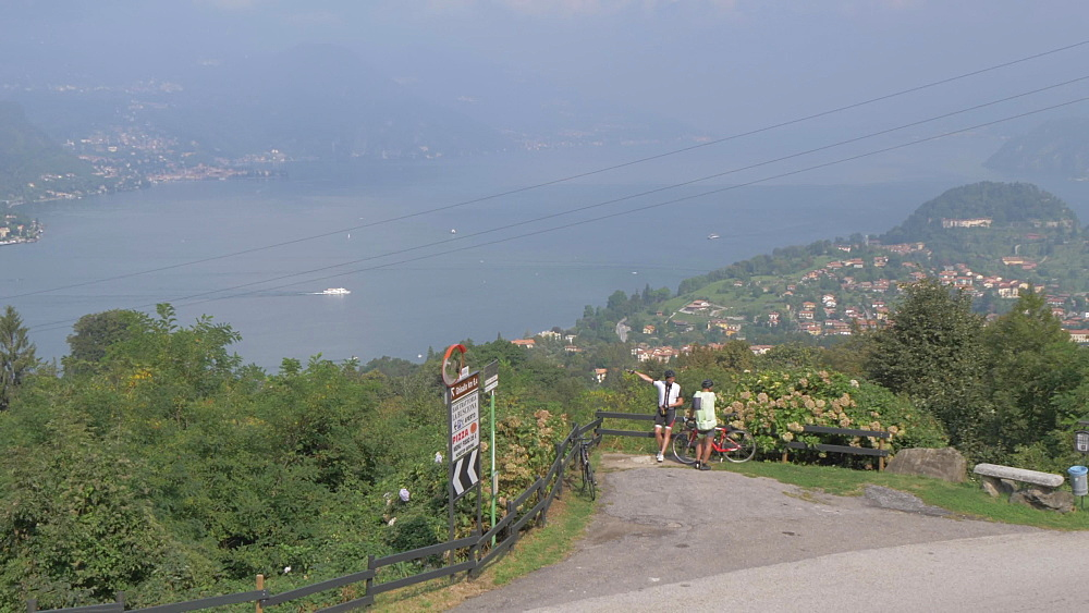 Motorcycles, Bellagio and Lake Como from elevated position, Bellagio, Lake Como, Lombardy, Italian Lakes, Italy, Europe