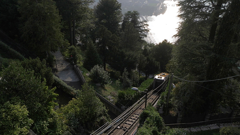 Tilt shot of Funicolare Como-Brunate, Como, Lake Como, Lombardy, Italian Lakes, Italy, Europe