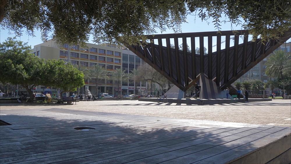 Slider shot of Rabin Square during spring, Tel Aviv, Israel, Middle East