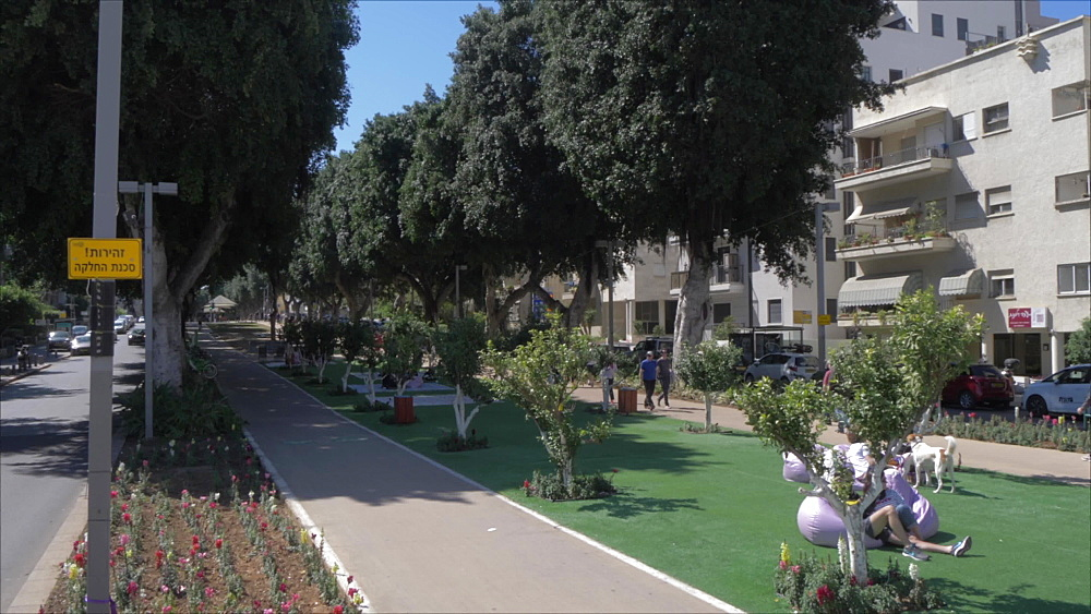 Rothschild Boulevard and plaque in Habima Square, Tel Aviv, Israel, Middle East