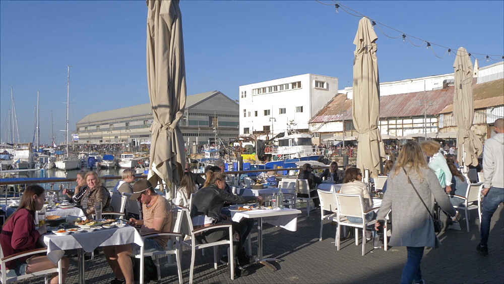 Harbour restaurants in Old Jaffa Town at late afternoon, Tel Aviv, Israel, Middle East