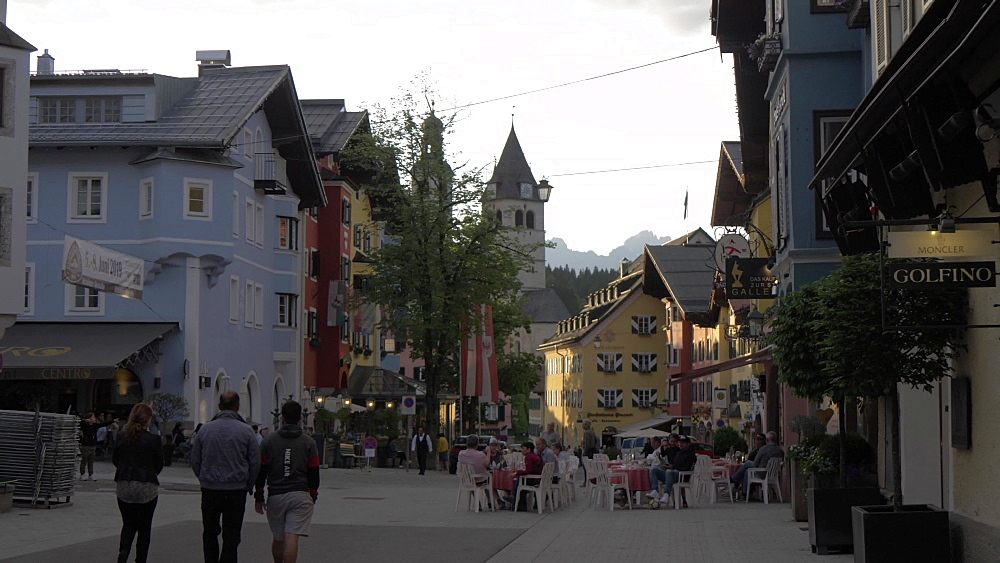 Colourful buildings in Vorderstadt at dusk, Kitzbuhel, Tyrol, Austrian Alps, Austria, Europe