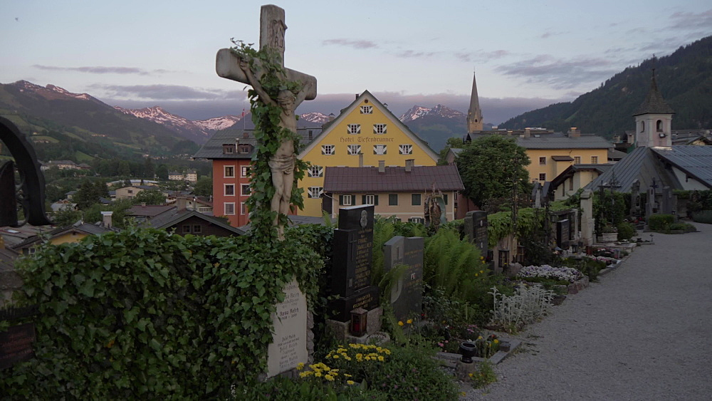Heiliger Andreas graves and rooftops at dusk, Kitzbuhel, Tyrol, Austrian Alps, Austria, Europe