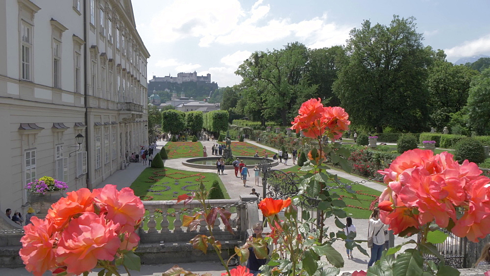 Hohensalzburg Castle from Mirabell Gardens, UNESCO World Heritage Site, Salzburg, Austria, Europe