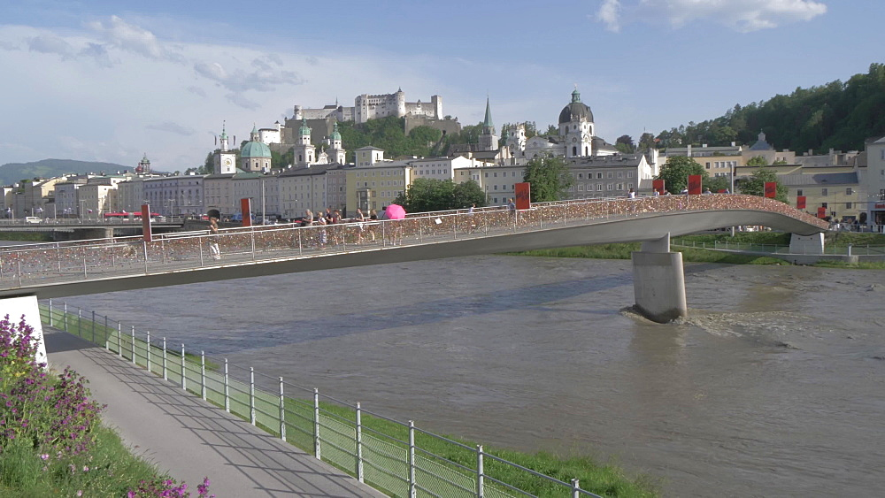 Salzach River, Hohensalzburg Castle and footbridge, UNESCO World Heritage Site, Salzburg, Austria, Europe
