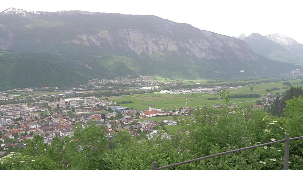 Valley and the town of Schwaz, Schwaz, Tyrol, Austria, Europe