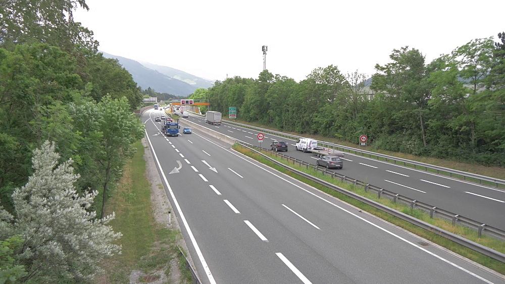 Traffic on busy junction of A12 near Schwaz, Schwaz, Tyrol, Austrian Alps, Austria, Europe