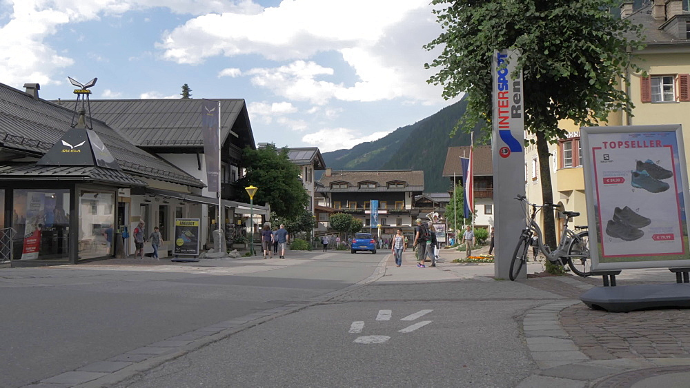 Main street and shoppers in Mayrhofen, Tyrol, Austrian Alps, Austria, Europe