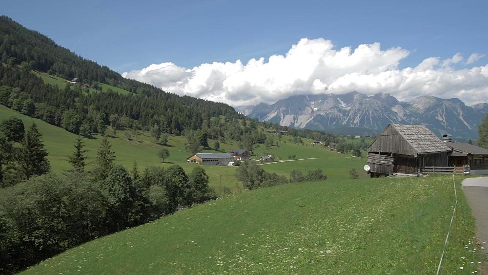 Traditional houses and landscape near Gfoller, Styria, Austrian Alps, Austria, Europe