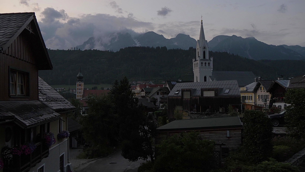 Traditional buildings and Evangelist Church at dusk, Schladming, Styria, Austrian Alps, Austria, Europe