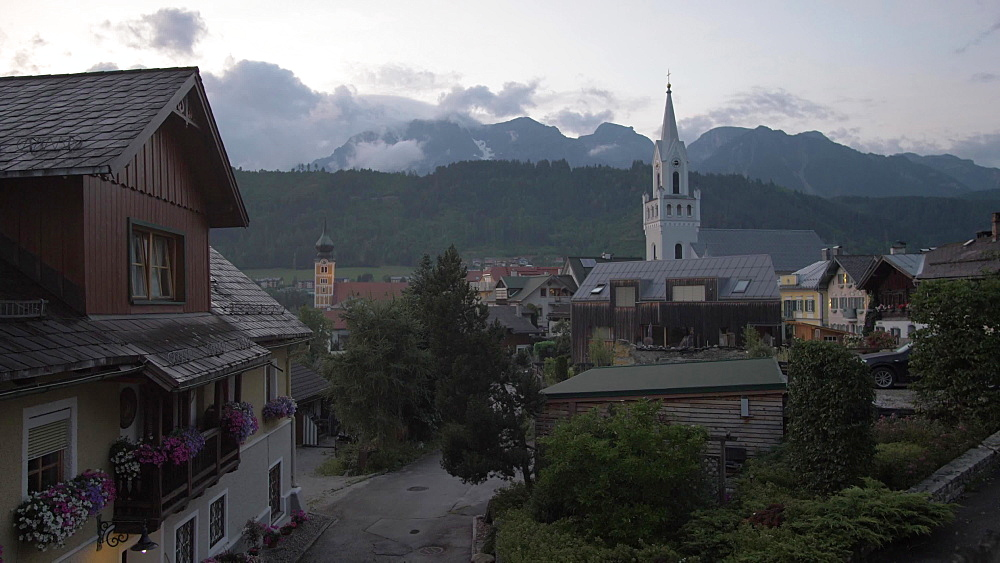 Shot of traditional buildings and Evangelist Church at dusk, Schladming, Styria, Austrian Alps, Austria, Europe