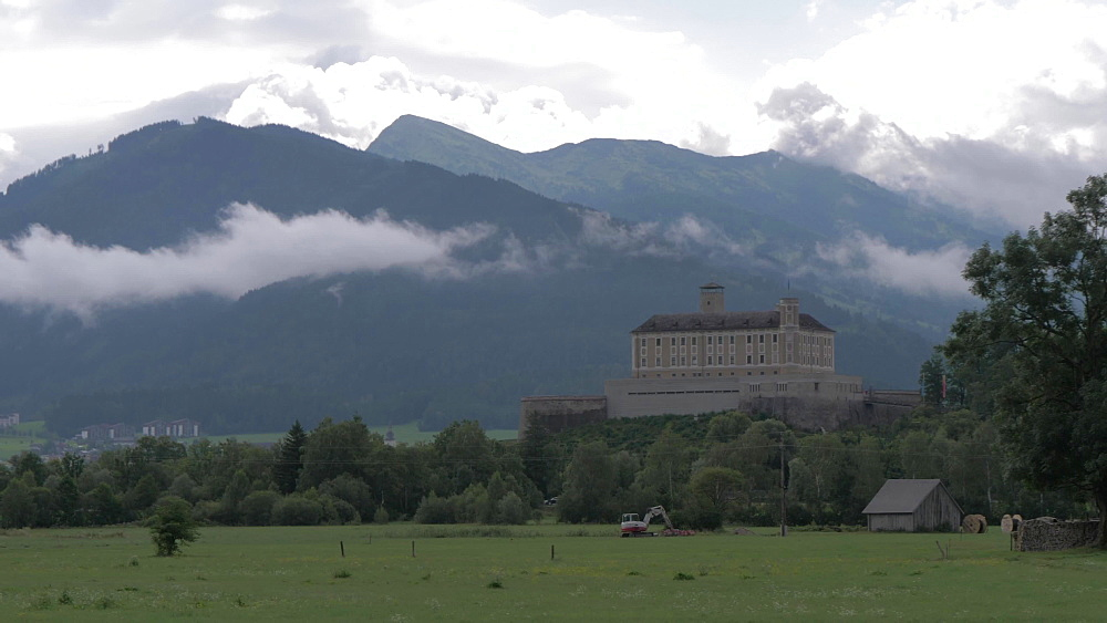 Trautenfels Castle and mountainous backdrop, Styria, Austrian Alps, Austria, Europe