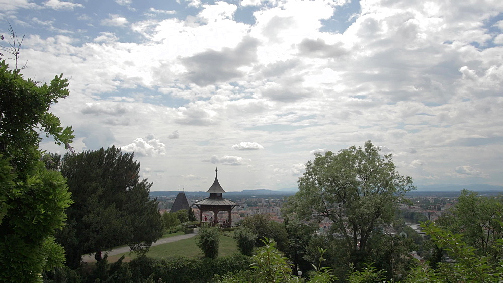 Chinese Pavilion from medieval bastion overlooking Graz old town, Graz, Styria, Austrian Alps, Austria, Europe