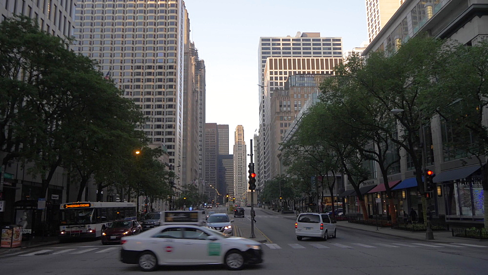 Early morning traffic on Michigan Avenue, Chicago, Illinois, United States of America, North America