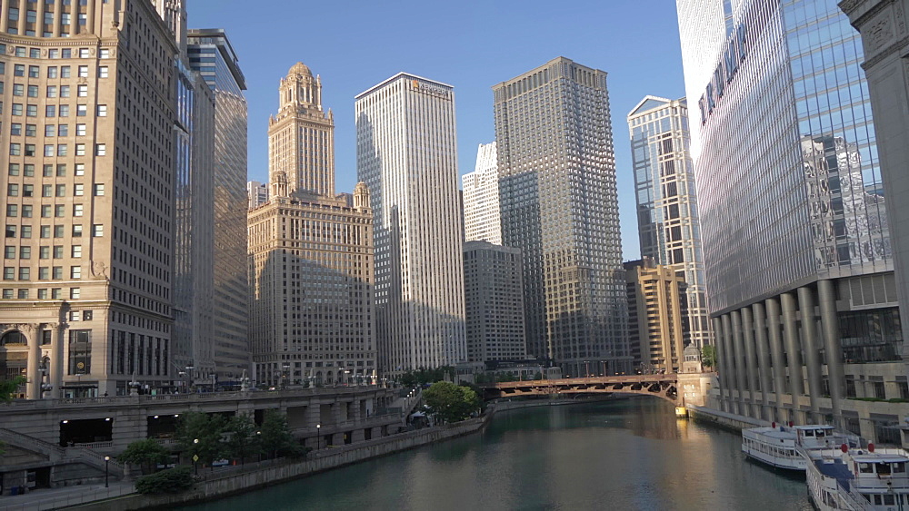 Tall buildings lining the Chicago River, Chicago, Illinois, United States of America, North America