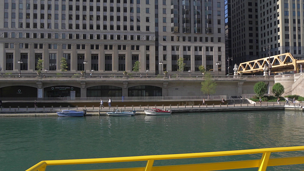 Onboard river taxi on Chicago River and tall buildings, Chicago, Illinois, United States of America, North America