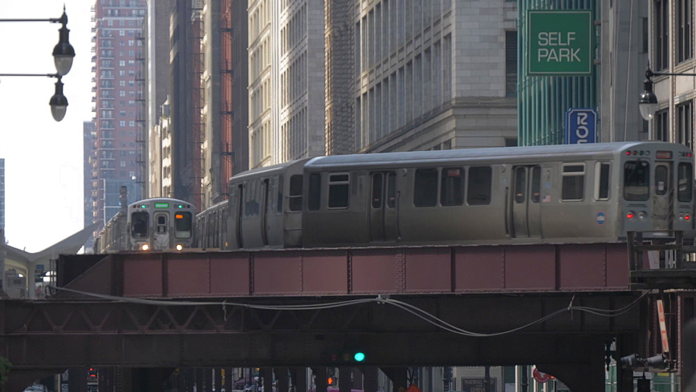 The Loop train and tall buildings, Chicago, Illinois, United States of America, North America