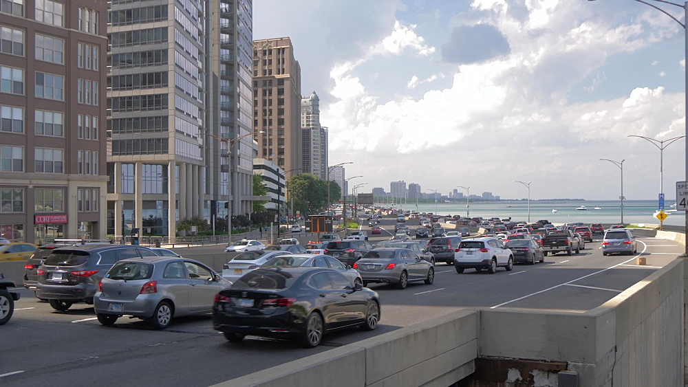 Traffic on North Shore highway, Chicago, Illinois, United States of America, North America