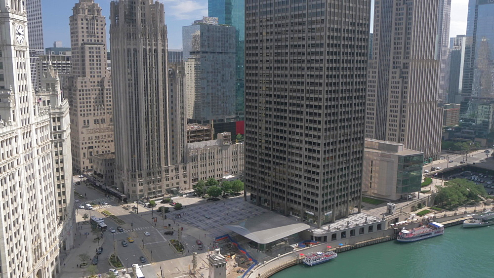 The Wrigley Building and Michigan Avenue from rooftop bar, Chicago, Illinois, United States of America, North America