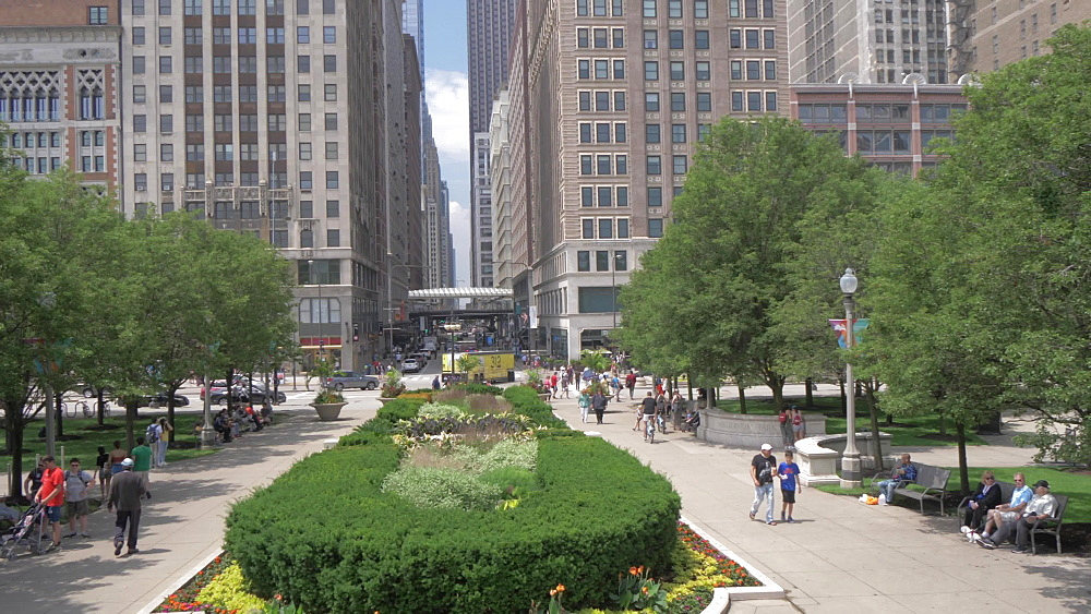 Shot from Millennium Park of Michigan Avenue, Downtown, Chicago, Illinois, United States of America, North America