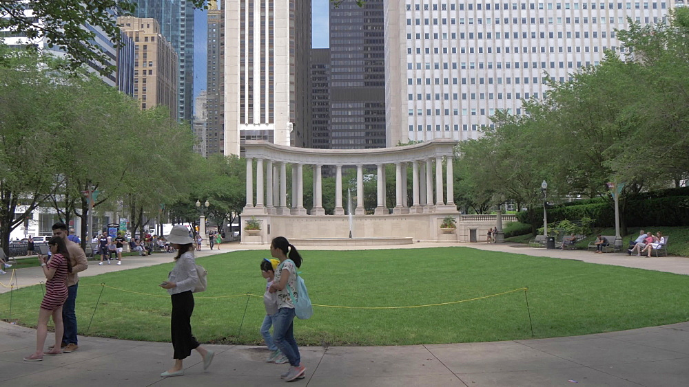 Millennium Monument on Wrigley Square, Millennium Park, Downtown, Chicago, Illinois, United States of America, North America
