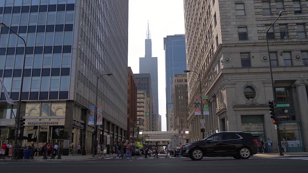 Willis Tower from Michigan Avenue, Chicago, Illinois, United States of America, North America