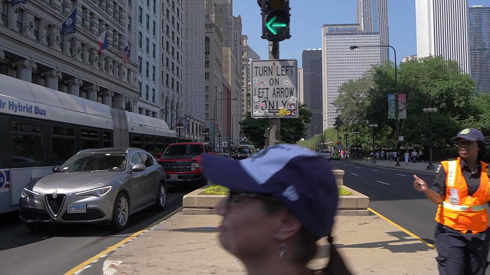 Shot across traffic on Michigan Avenue, Chicago, Illinois, United States of America, North America