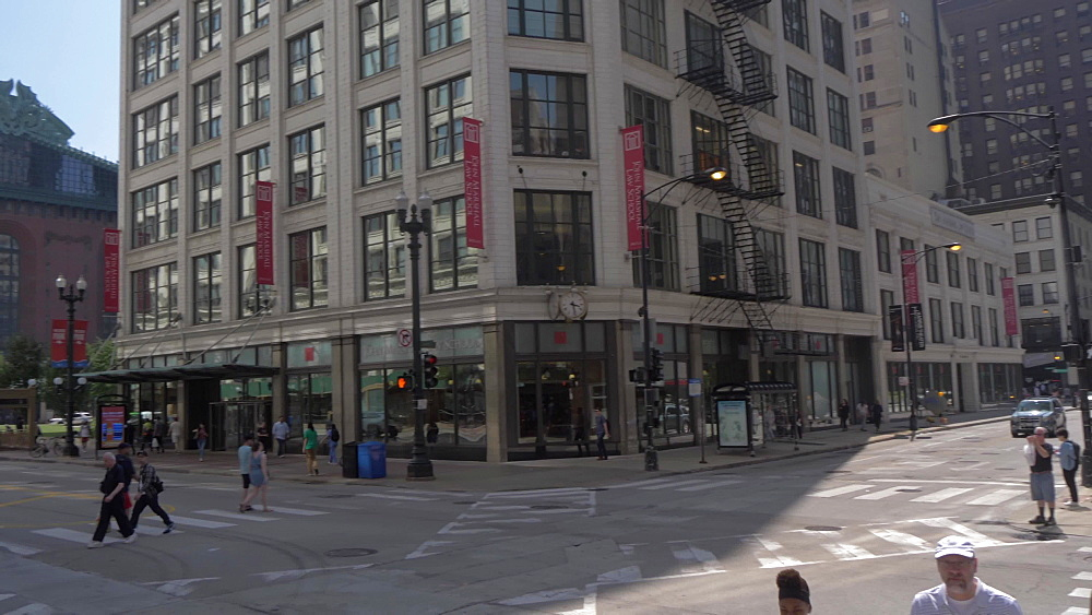 Shot from traffic lights to Chicago Public Library on South State Street, Chicago, Illinois, United States of America, North America