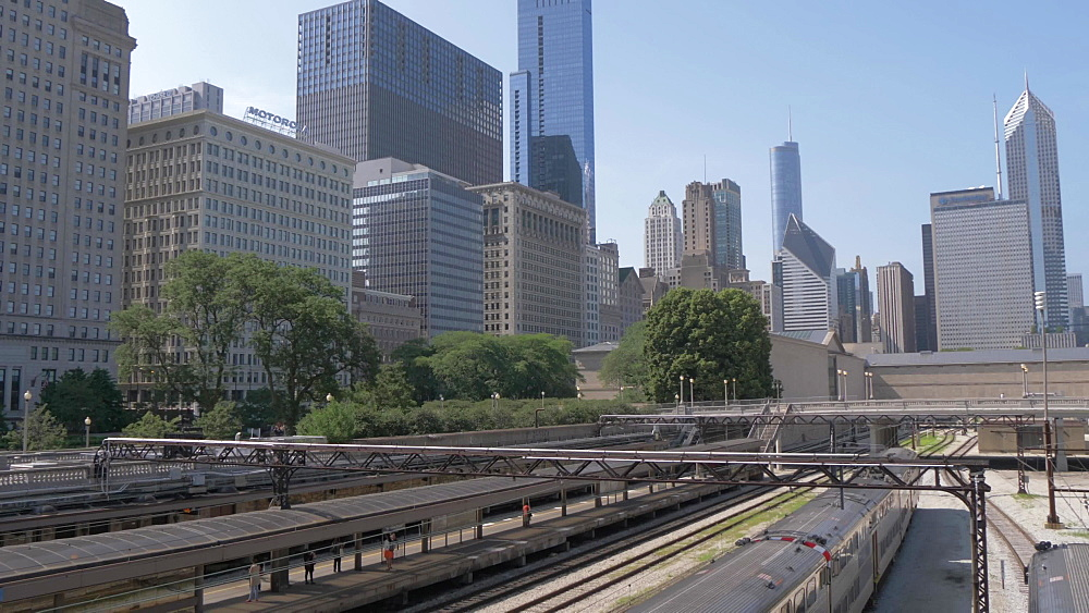 Rail and city skyline from Michigan Avenue, Chicago, Illinois, United States of America, North America