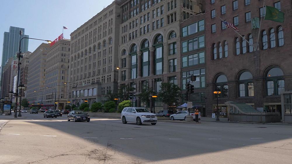 Paris style metro entrance and Michigan Avenue, Chicago, Illinois, United States of America, North America