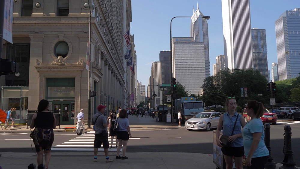 People and buildings on Michigan Avenue, Chicago, Illinois, United States of America, North America