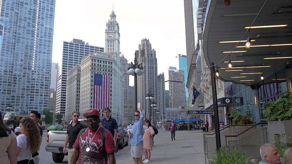 People and buildings on Wacker Drive, Chicago, Illinois, United States of America, North America