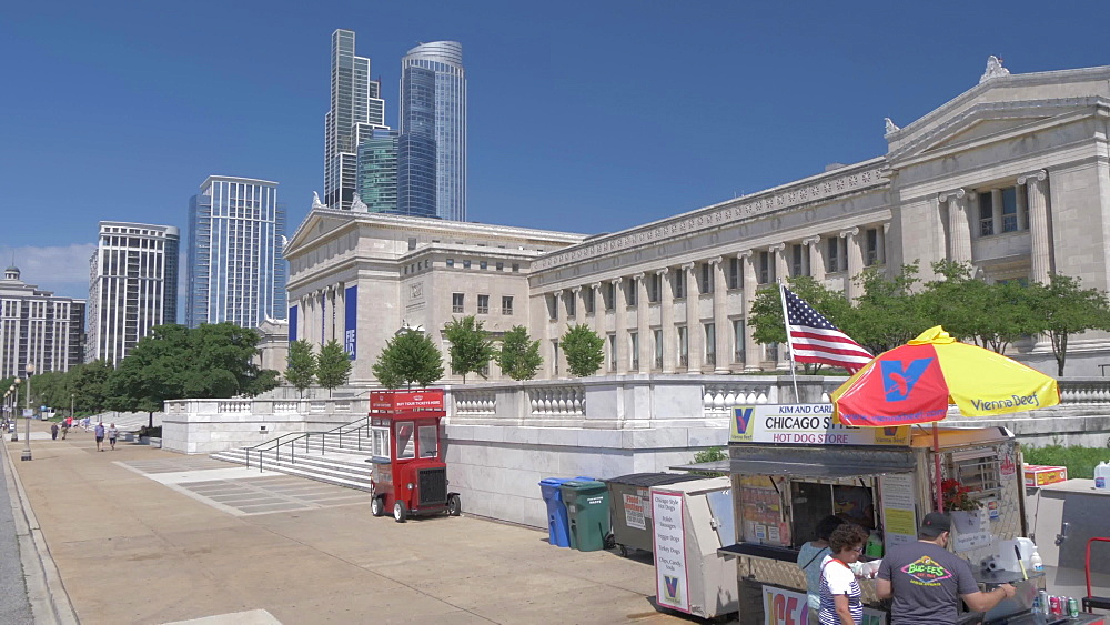A fast food stall and The Field Museum, Chicago, Illinois, United States of America, North America