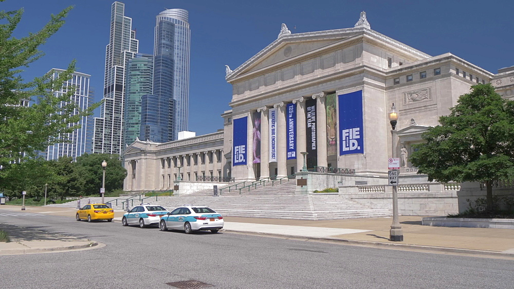Taxi cabs outside The Field Museum, Chicago, Illinois, United States of America, North America