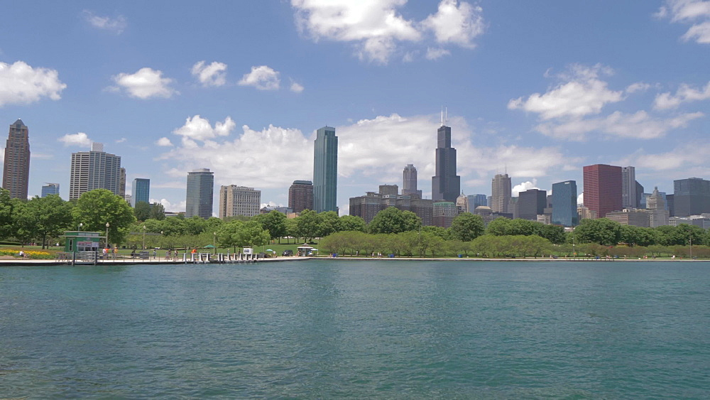 Chicago Downtown skyline from Museum Campus, Chicago, Illinois, United States of America, North America