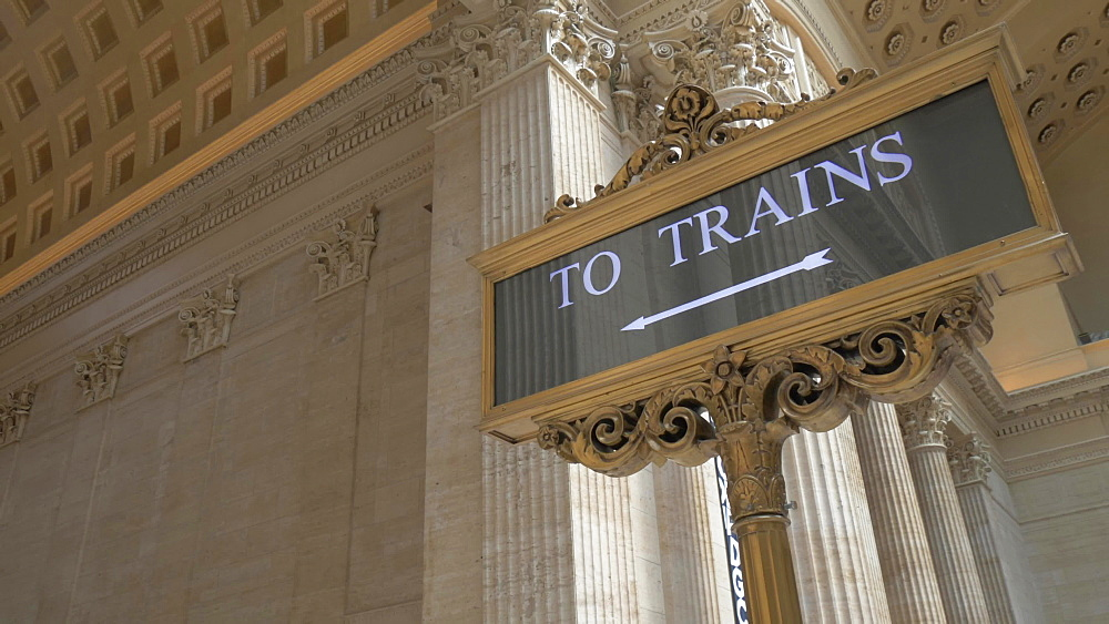 To Trains sign in interior of the waiting hall of Union Station, Chicago, Illinois, United States of America, North America