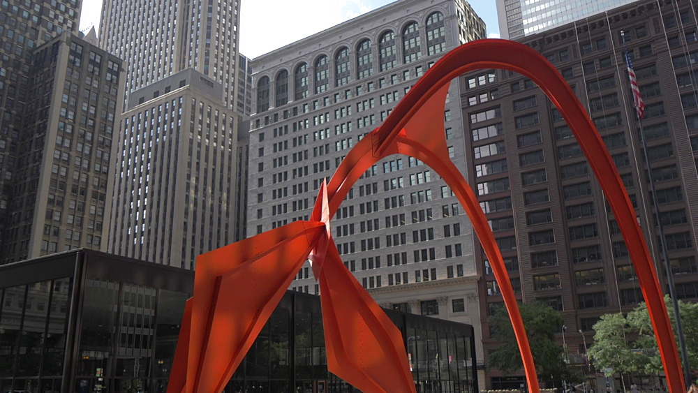 Alexander Calder's large abstract Flamingo sculpture, W Adams Street, Chicago, Illinois, United States of America, North America