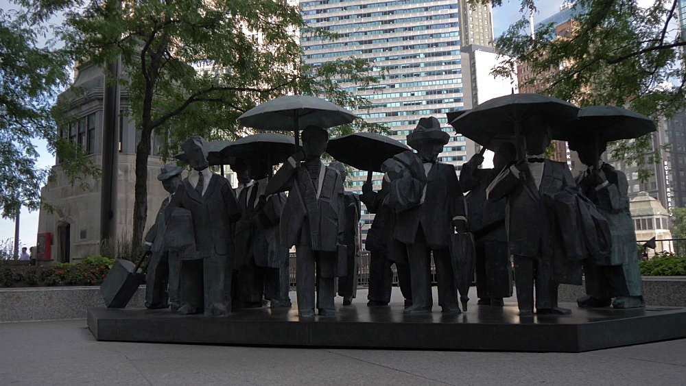 Statues of people near Chicago River, Chicago, Illinois, United States of America, North America