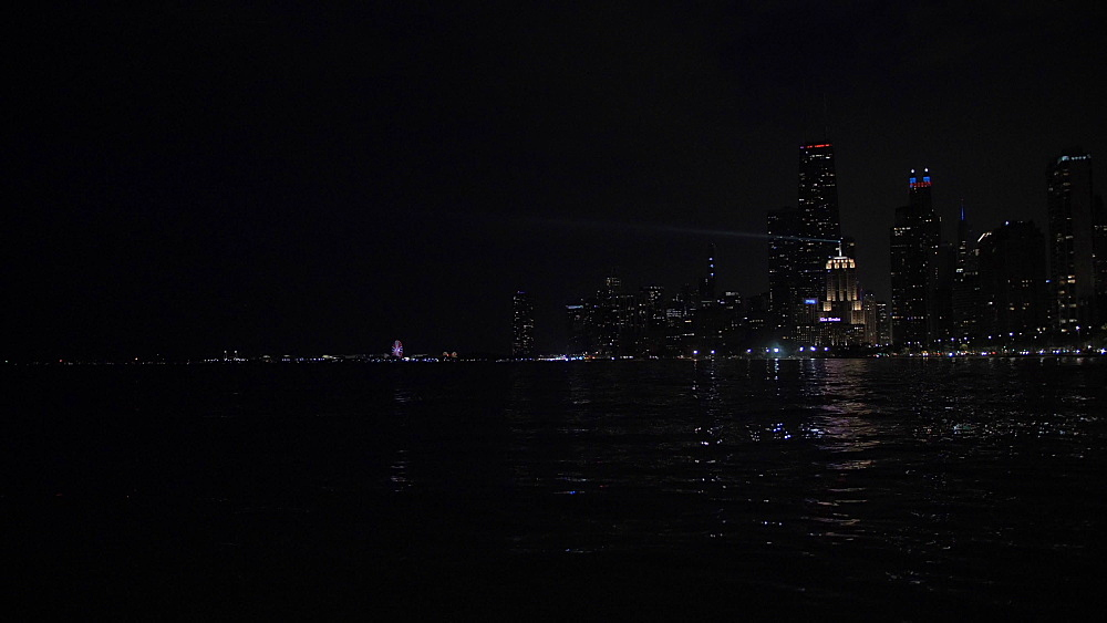 Chicago skyline from North Shore at night, Chicago, Illinois, United States of America, North America