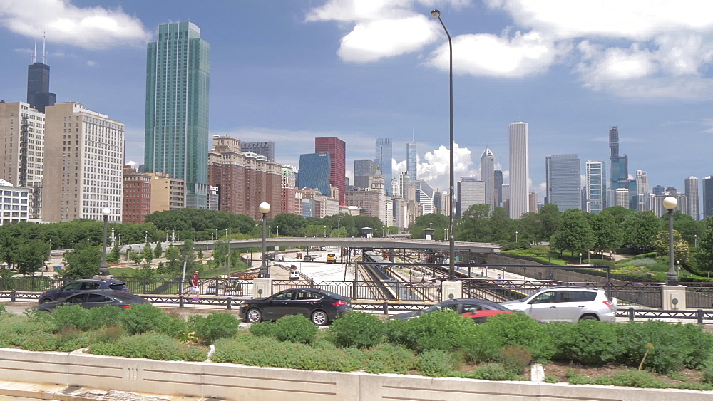Onboard open top bus shot of city streets of Chicago including Soldier Field, Chicago, Illinois, United States of America, North America