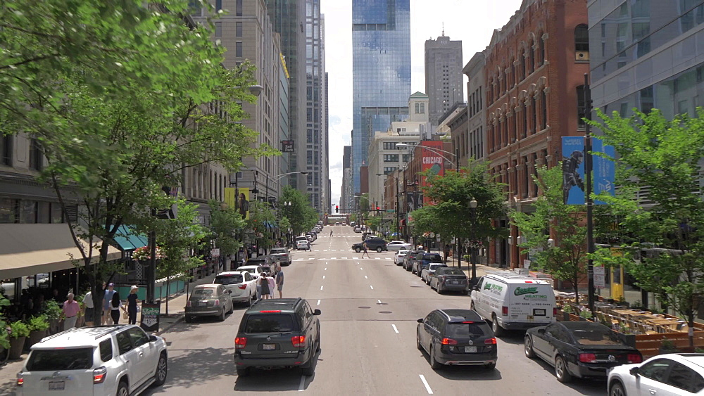 Onboard open top bus shot of city streets of Chicago, Illinois, United States of America, North America
