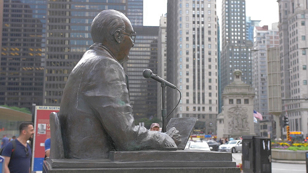 Broadcaster Jack Brickhouse statue on Michigan Avenue, Chicago, Illinois, United States of America, North America