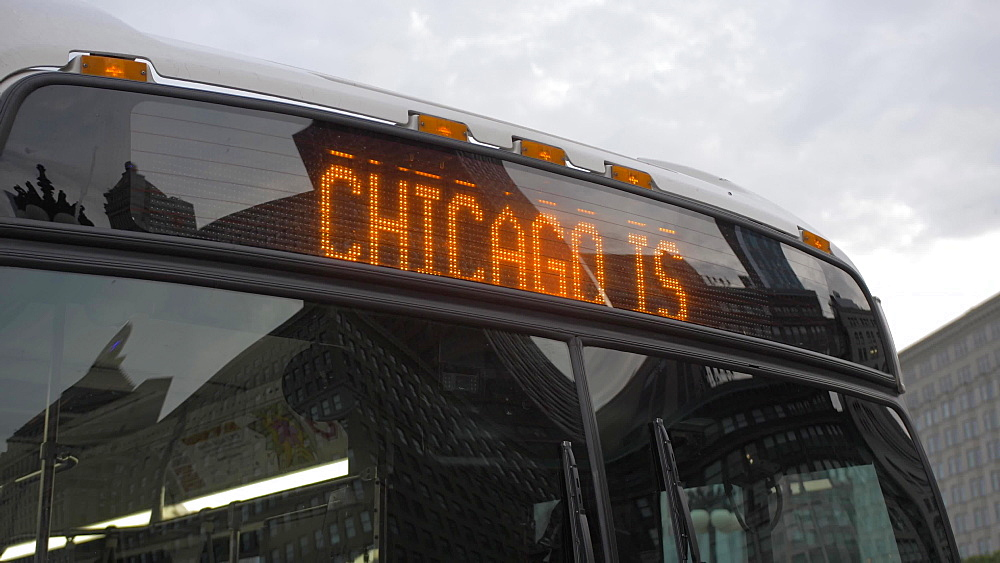 Still shot of ?My Kind of Town - Chicago? sign on front of bus on Michigan Avenue at dusk, Chicago, United States of America, North America