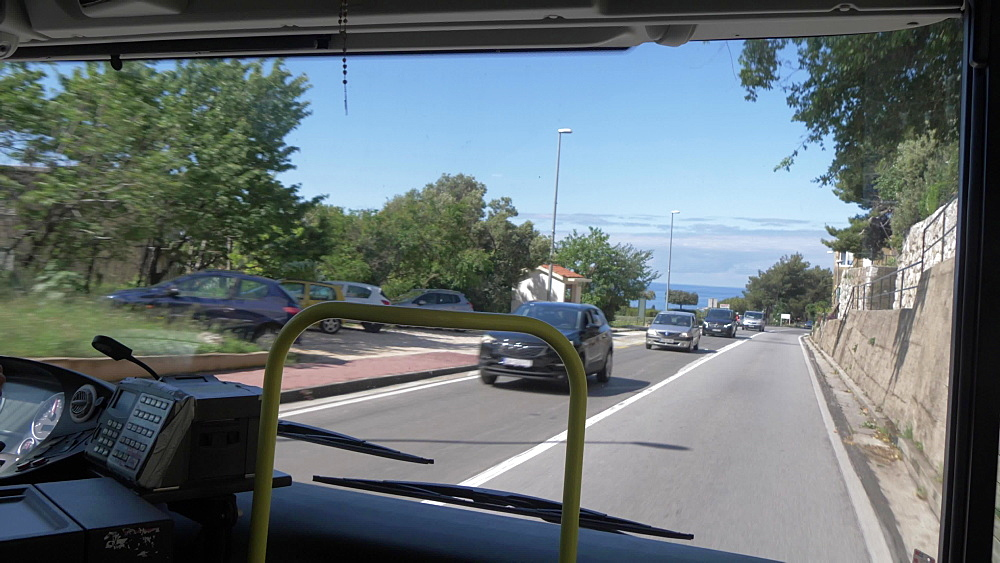Onboard view of bus travelling from Cavtat to Dubrovnik on D8 road, Dubrovnik Riviera, Croatia, Europe