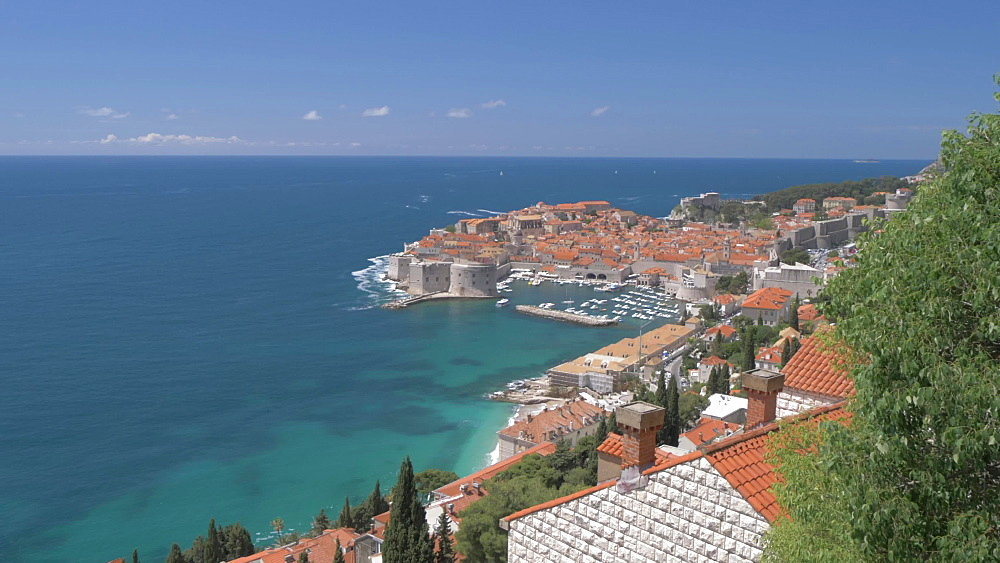 Dubrovnik Old Town, UNESCO World Heritage Site, from rooftop in an elevated position, Dubrovnik, Dubrovnik Riviera, Croatia, Europe