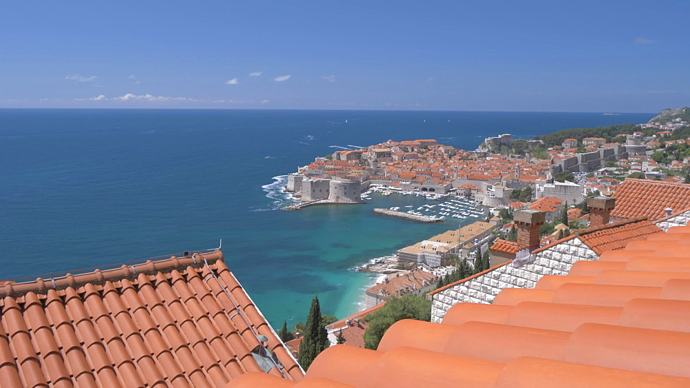 Slider shot of Dubrovnik Old Town, UNESCO World Heritage Site, from rooftop in an elevated position, Dubrovnik, Dubrovnik Riviera, Croatia, Europe