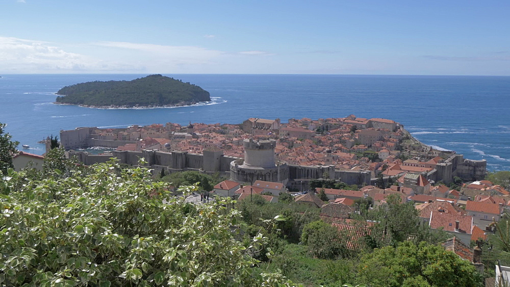 Dubrovnik Old Town from elevated position, UNESCO World Heritage Site, Dubrovnik, Dubrovnik Riviera, Croatia, Europe